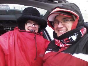 Lisa and son keeping warm after NIU football game